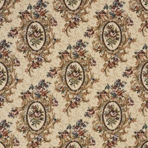 Burgundy, Beige And Green, Floral Bouquet Tapestry Upholstery Fabric By The Yard