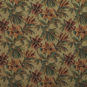 Green, Red And Orange, Floral Chenille Upholstery Fabric By The Yard