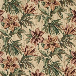Red, Orange And Green, Floral Chenille Upholstery Fabric By The Yard
