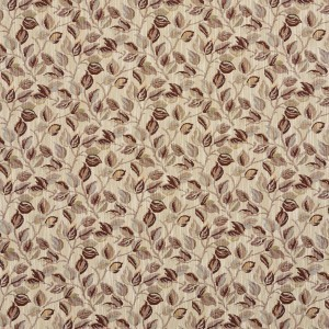 Burgundy And Gold, Floral Leaves Tapestry Upholstery Fabric By The Yard