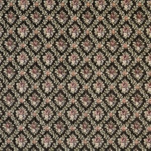 Black, Red And Green, Floral Diamond Tapestry Upholstery Fabric By The Yard