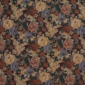 F924 Red And Green, Floral Tapestry Upholstery Fabric By The Yard