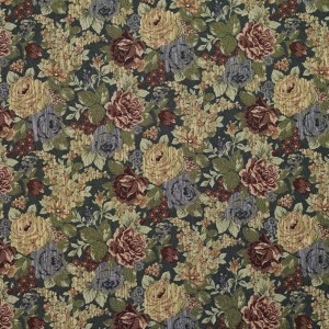 Blue, Red And Green, Floral Tapestry Upholstery Fabric By The Yard