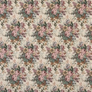 Pink, Green And Burgundy, Floral Bouquet Tapestry Upholstery Fabric By The Yard