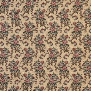 H859 Gold, Burgundy And Green, Floral Tapestry Upholstery Fabric By The Yard
