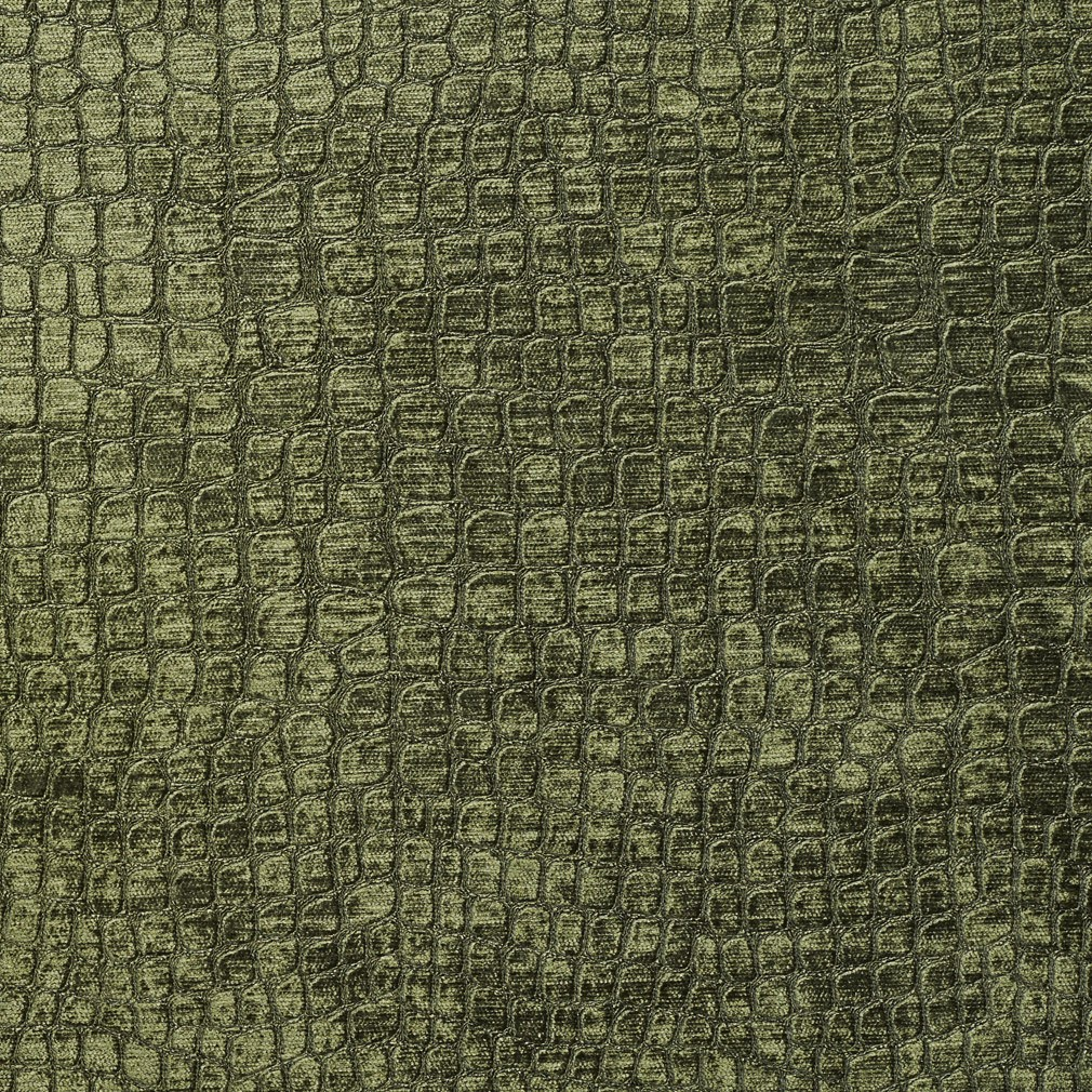 Dark Green Textured Alligator Shiny Woven Velvet Upholstery Fabric By The Yard