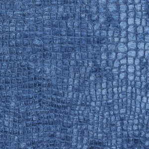 Blue Textured Alligator Shiny Woven Velvet Upholstery Fabric By The Yard
