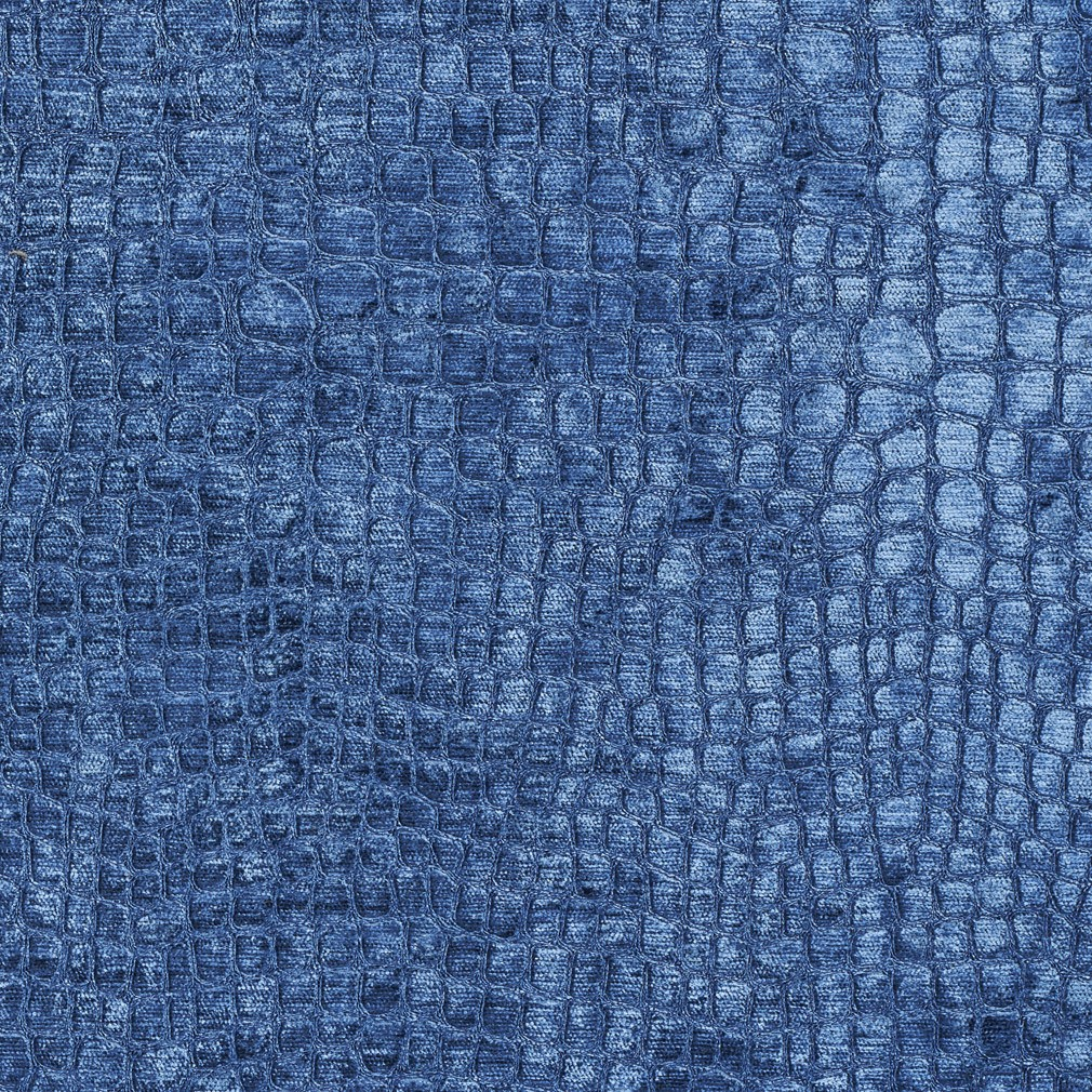 Blue Textured Alligator Shiny Woven Velvet Upholstery Fabric By The Yard 1