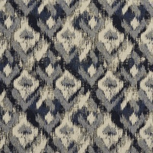 Navy, Blue And Ivory Ikat Woven Abstract Unique Upholstery Fabric By The Yard