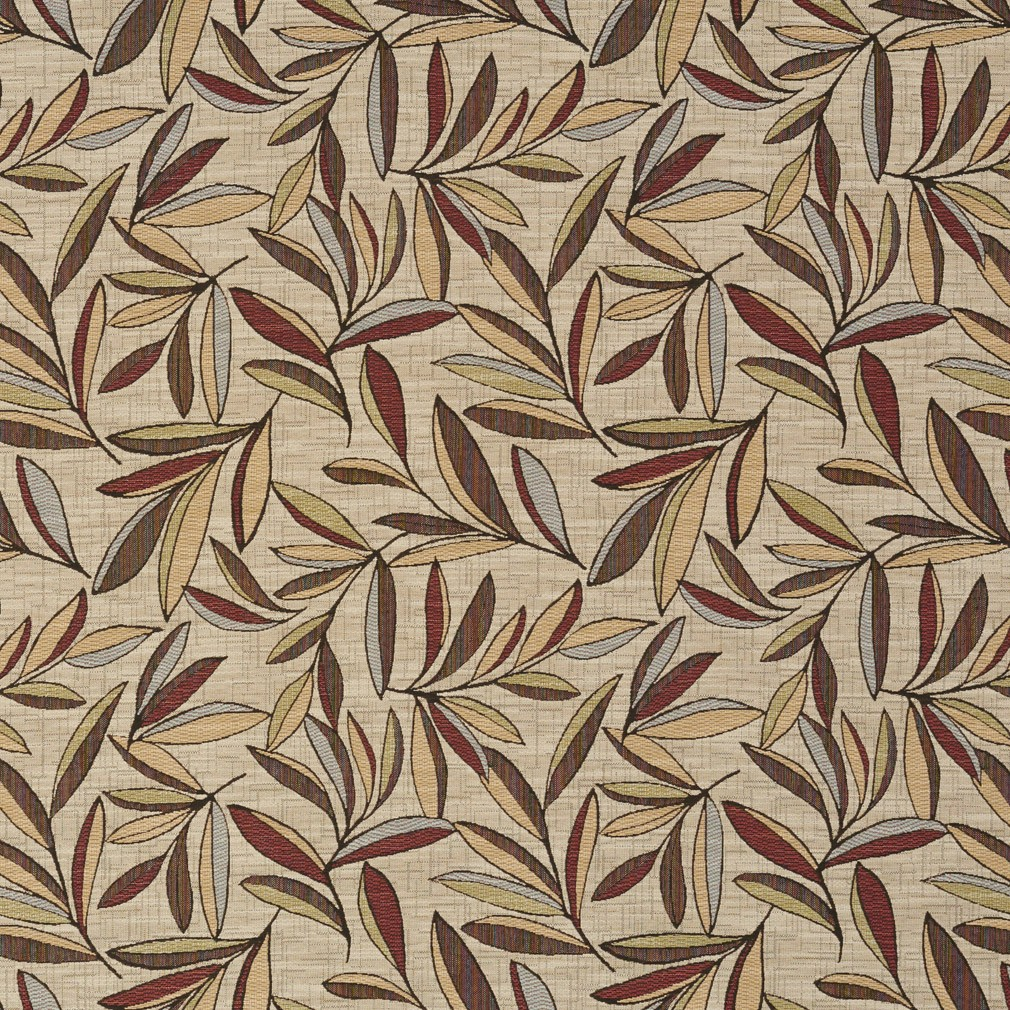 Red, Gold And Green Leaves Woven High End Quality Upholstery Fabric By The Yard 1