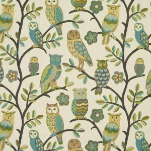 Owls and Branches Woven Designer Novelty Upholstery Fabric By The Yard