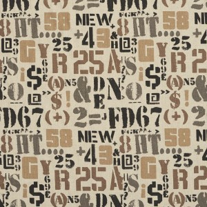 Taupe and Black Letters, Numbers and Symbols Woven Upholstery Fabric By The Yard