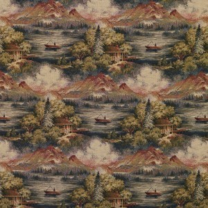 Cabin In The Wilderness Woven Decorative Novelty Upholstery Fabric By The Yard