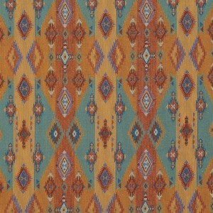 Bright Southwestern Stripes and Diamonds Woven Upholstery Fabric By The Yard