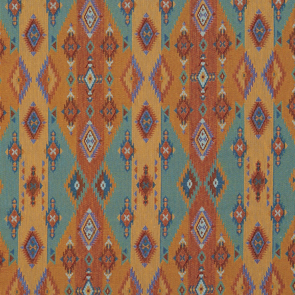 Bright Southwestern Stripes and Diamonds Woven Upholstery Fabric By The Yard 1