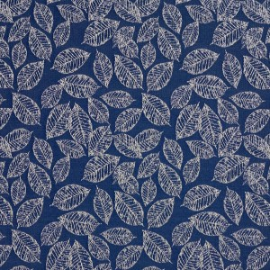 Navy Blue, Floral Leaf Jacquard Woven Upholstery Fabric By The Yard