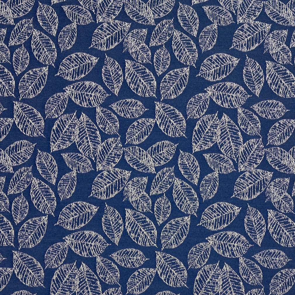 Navy Blue Floral Leaf Jacquard Woven Upholstery Fabric By The Yard