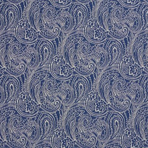Navy Blue, Traditional Paisley Jacquard Woven Upholstery Fabric By The Yard