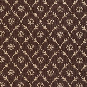 Brown, Floral Trellis Jacquard Woven Upholstery Fabric By The Yard