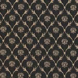 Black, Floral Trellis Jacquard Woven Upholstery Fabric By The Yard