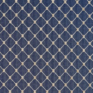 Navy Blue, Diamond Jacquard Woven Upholstery Fabric By The Yard