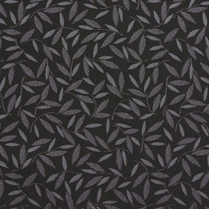 Black And Grey Floral Leaf Contract Grade Upholstery Fabric By The Yard