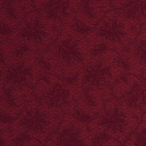 E500 Burgundy, Floral Jacquard Woven Upholstery Grade Fabric By The Yard