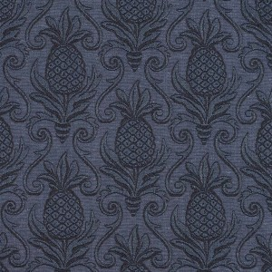 Blue, Pineapple Jacquard Woven Upholstery Grade Fabric By The Yard