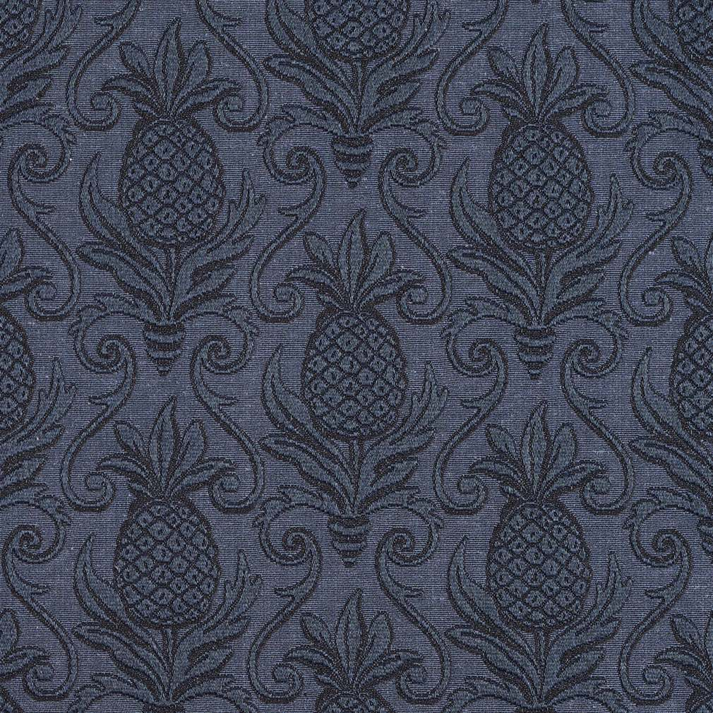Blue, Pineapple Jacquard Woven Upholstery Grade Fabric By The Yard 1