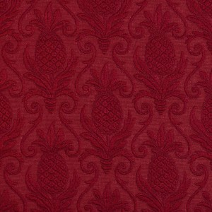 Red, Pineapple Jacquard Woven Upholstery Grade Fabric By The Yard