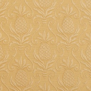 Gold, Pineapple Jacquard Woven Upholstery Grade Fabric By The Yard