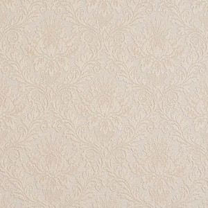 E537 Ivory White, Floral Jacquard Woven Upholstery Grade Fabric By The Yard