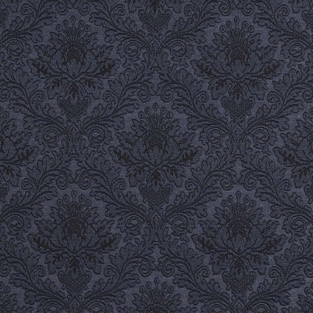 E538 Blue, Floral Jacquard Woven Upholstery Grade Fabric By The Yard 1