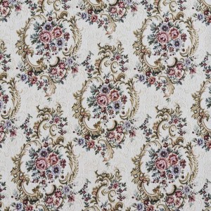 F641 Burgundy, Green And Blue, Floral Tapestry Upholstery Fabric By The Yard
