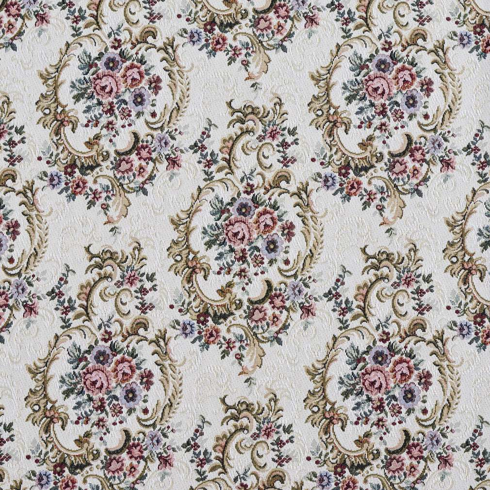 F641 Burgundy, Green And Blue, Floral Tapestry Upholstery Fabric By The Yard 1