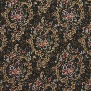 Navy, Gold And Burgundy, Floral Tapestry Upholstery Fabric By The Yard