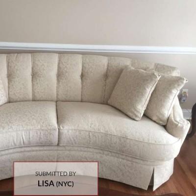 A108 Damask Upholstery Fabric On Sofa