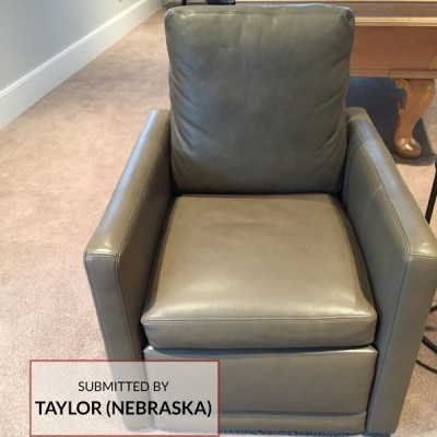 G522 Taupe Recycled Leather Upholstered Reclining Chair