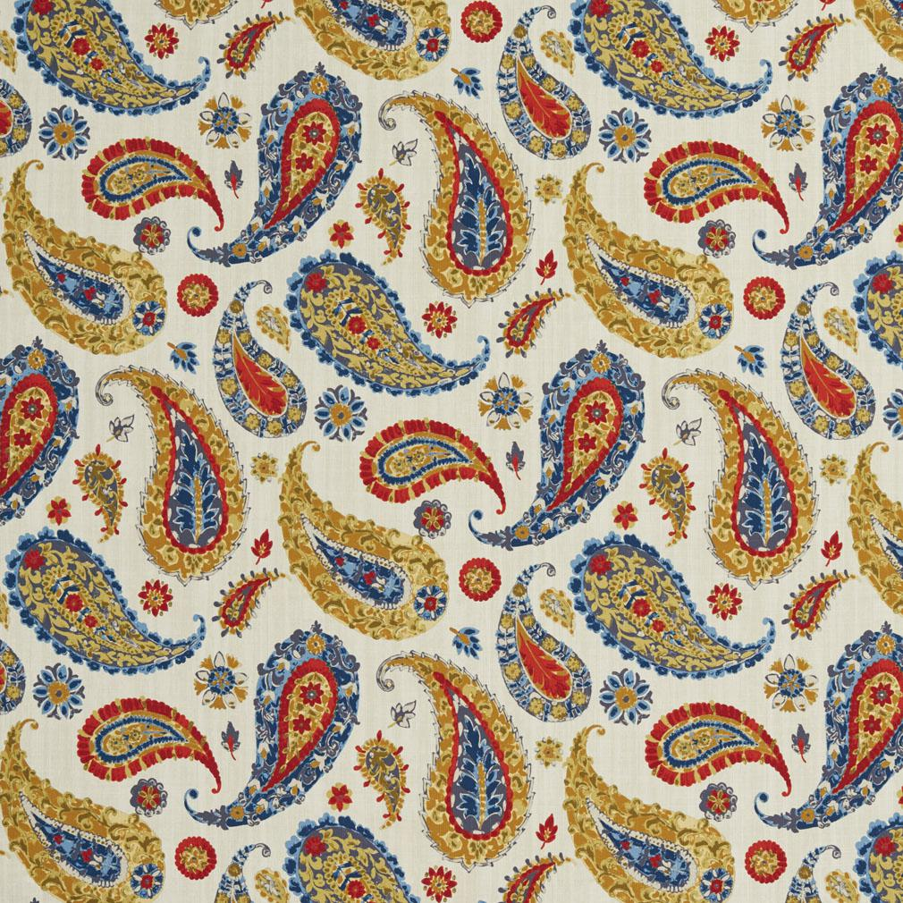 B0490b Red Gold And Dark Blue Large Paisley Print Upholstery Fabric