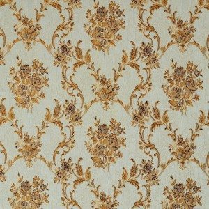 A0014A Light Blue Gold Brown And Ivory Floral Upholstery Fabric