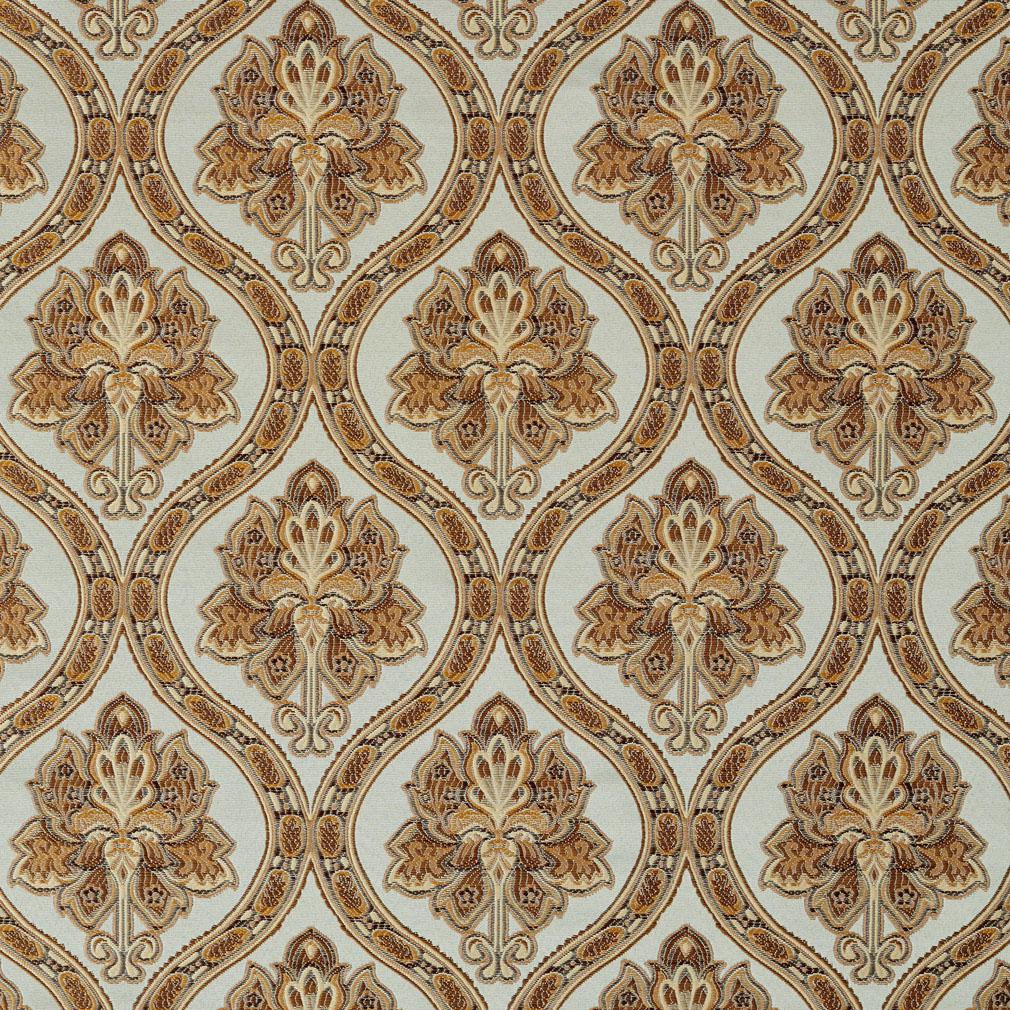 A0016A Light Blue Gold Brown And Ivory Brocade Upholstery Fabric