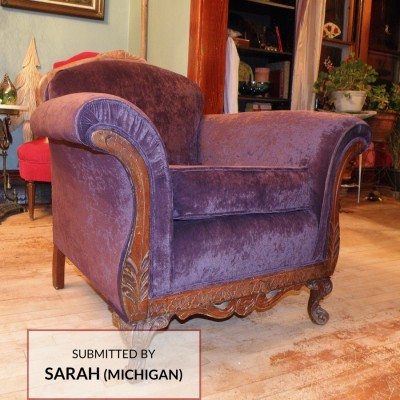 D897 Purple Microfiber on a Chair